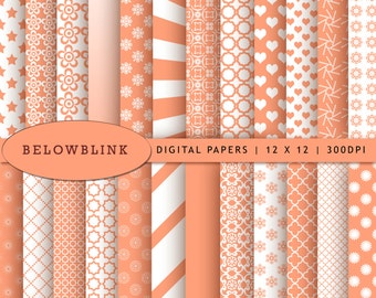 Light Salmon Digital Paper Pack, Scrapbook Papers, 24 jpg files 12 x 12 - Instant Download - DP245