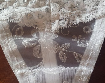Lacy white and silver glitter flowers G-string