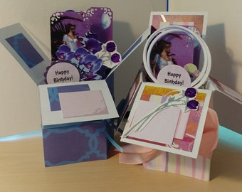 Victorian Thinking of You  Birthday Cards - Pop up Exploding Box - 2 variations -Free shipping in USA