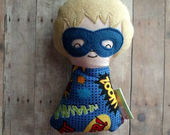 CLEARANCE- Boy Superhero Plushie Rattle, Blonde Hair, Blue Mask, Embroidered Wool Felt and Superhero Print Cotton, Baby Shower Gift