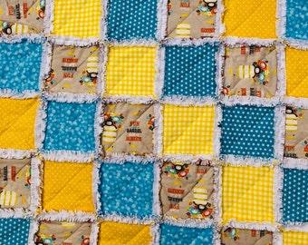 Baby Rag Quilt, Monkeys!  Handmade Yellow & Blue blanket with monkeys, baby shower gift, girl blanket, boy blanket, gender neutral blanket