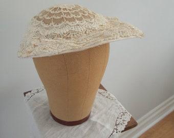 Vintage 1950's Lace Bridal Hat