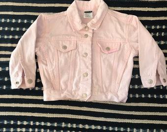 Vintage Jordache jean jacket, pink jean jacket, size 3T, toddler jean jacket, vintage denim jacket, hippie kids jacket, girls jean jacket,