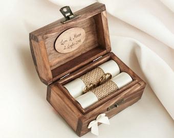 Caja del anillo de boda personalizado. Caja del anillo de madera. Anillo de soporte con la cinta en varios colores. Portador del anillo.