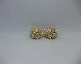Pearl cluster earrings cream off white in colour. 1950s.