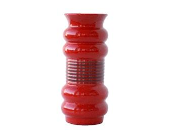 Vintage Ceramic Vase / Red Table Vase / German Floor vase / Klein - West Germany - 70s