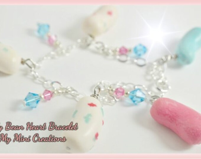 Jelly Bean Heart Bracelet, miniature food jewelry, miniature food. sterling silver, Easter