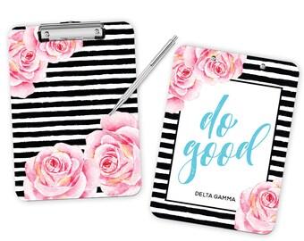 DG Delta Gamma Striped Floral Motto Sorority Clipboard