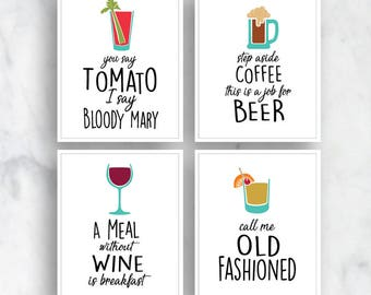 Bloody Mary, Beer, Wine, Old Fashioned (Top Shelf Humor) Set of 4 Art Prints (Featured on White) Alcohol Bar Art Print