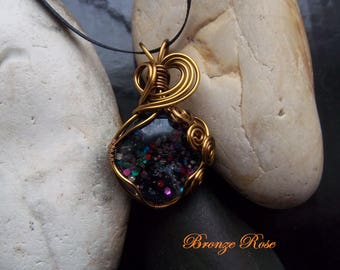 Handmade wire wrapped glitter glass nugget necklace