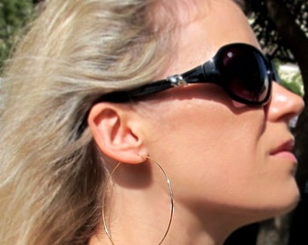 2 inch Gold Hoop earrings. Open Hoops. Hammered Large 14k Gold Filled Hoops. Large Size