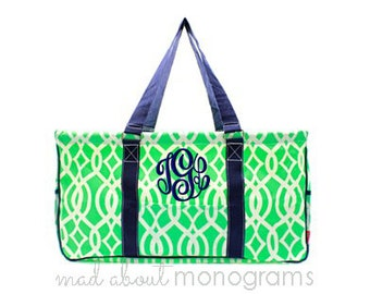 Personalized Monogrammed Collapsible Deluxe Large Utility Tote Bag | MINT GREEN VINE | Teacher Gift | Tailgating | Carry All Organizer