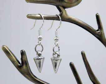 Spike Earrings, Silver Small Spike Dangle Earrings, Edgy Fashionable Dainty Arrow Earrings, Gift for Girlfirend, Best Friend or Sister