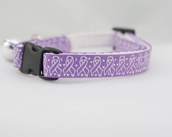"Cancer Awareness Cat Collar - 3/8"" wide - cancer Cat Collar - breakaway cat collar - safety buckle cat collar - purple cat collar"