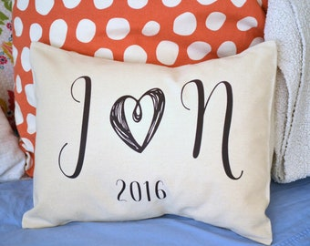 2nd anniversary, Valentine gift, Couples Gift, romantic gift, initials, Cotton anniversary, gift for her