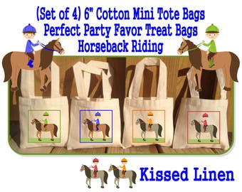 Boy Girl Horseback Horse Pony Riders Riding Birthday Party Treat Favor Gift Bags Mini Cotton Totes Children Kids Horses Ponies