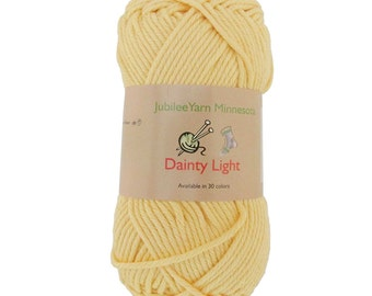 Dainty Light Yarn 2 x 100g - 4 Skeins -Pure Cotton - Light Yellow