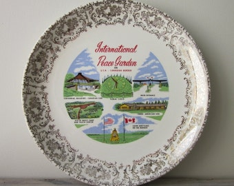 Vintage Travel Souvenir Plate for International Peace Garden USA Canada