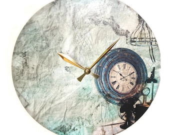 Shabby Industrial Wall Clock made with Recycled Vinyl Record - Old World Time Piece Clock - Unique Wall Clock - Unique Wall Decor - 2222