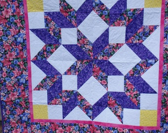 floral quilt, lap size quilt, couch throw, floral decor, homemade quilt, gifts for women,  purple quilt, purple and pink quilt