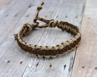 Surfer Macrame Hemp Bracelet Brown and Natural, Natural Woven Knot Friendship Bracelets