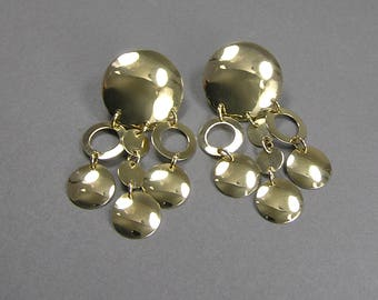 Sterling Circle Earrings, Posts, Vermeil, Gilt, Signed, Dangle Earrings, Etruscan, Gorgeous, Boho, Hippie, Gypsy