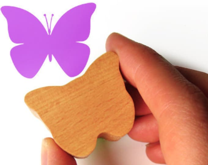 Butterfly Stamp, Rubber Insect Stamp for Scrapbooking in Wood and Rubber