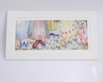 PRIDE & PREJUDICE faerie tale feet limited edition signed print by halthegal lizzie bennet sisters art print jane austen art