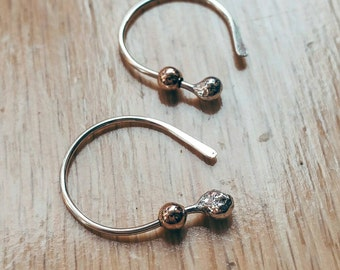 Simply Irresistible Itsy Bitsy Teeny Tiny Sterling Silver and Rose Gold Filled Bud Open Hoop Earrings - Spinnerette Version