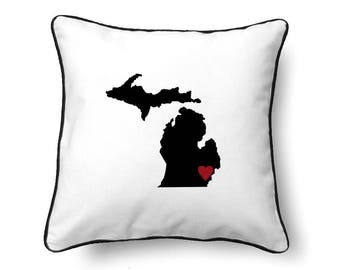 Michigan Pillow - Michigan Gift - Michigan Map - MI State Map