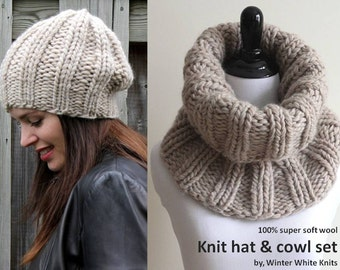 COWL & HAT SET, this set includes both the hat and the cowl, knit snood, knit beanie hat, soft and cozy, hat and cowl set, tube scarf,