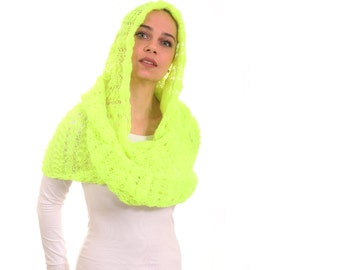 Yellow Neon Knitted Infinity Scarf with Hood, Hooded Hand Knit Scarf by Solandia, trend, urban