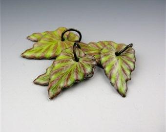 Enameled Ivy Leaf / Lime enamel / Made to order