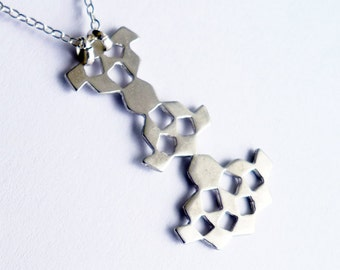 Mini Mashrabiya Necklace No 6. Modern Geometry. Sterling Silver Hand Made Lace Necklace. Dainty Light Thin Layering Necklace. Recycled.