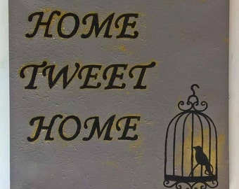 Home 'tweet' Home hand painted wall art on textured canvas