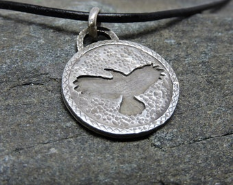 Crow Pendant, Sterling Silver Necklace, Crow Talisman, Made in NH, Totem, Intelligence, Prophecy, Nature Jewelry, Crow Medicine, Familiar