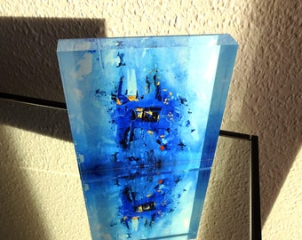 "Art Object ""Blue, black, gold"" acrylic block 15 signed specimens in 2 sizes each"