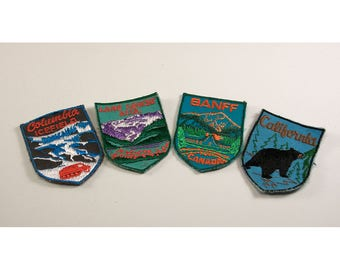 Set of Four Vintage Travel Patches - Columbia Ice Field - Lake Louise Alta - Banff Canada - California