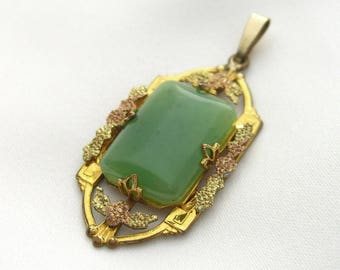 Gold Filled Pendant, Victorian Revival Pendant, Antique Jade Pendant Marked White Co, Jade Rose Gold Accents