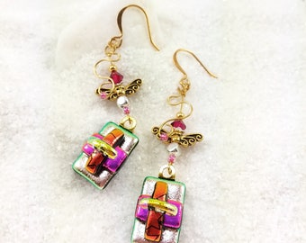 Fused dichroic glass earrings, Angel wing jewelry, dichroic jewelry, fused glass art, dichroic earrings, silver earrings,Hana Sakura Designs