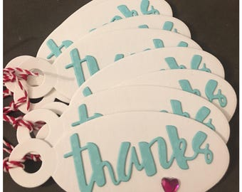 Handmade Thank You Gift Tags Pink Crystal Heart White Aqua Blue Hostess Wedding Shower Teachers Gifts Oval Diecut Tags set of 8