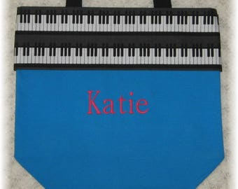 PIANO music lesson book bag, turquoise canvas tote bag personalized for kids child recital birthday gift idea keyboard embroidered musician