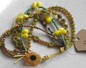 """NEW - Yellow Hibiscus Flower/Leather Bracelet, Adjustable 6""""-8"""", Yellow, Bronze, Turquoise, Mustard, Picasso, #6"""