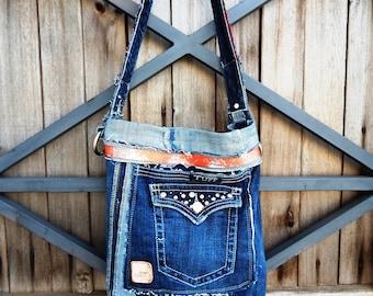 Unique handmade recycled Tuff denim jeans shoulder bag, boho, bohemian, gypsy, hippy, laptop, purse, bag, hobo, vegan, western