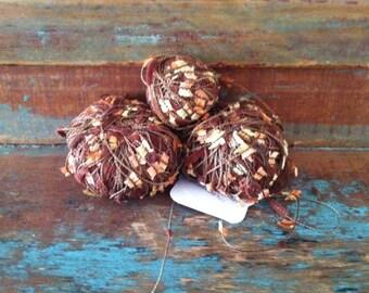 DESTASH Trendsetter Yarns 'Charm' Yarn  - 2.5 Skeins - Color #4413 Peach Brownies - Butterfly-Eyelash-Flag Novelty Yarn - FREE SHIPPING!