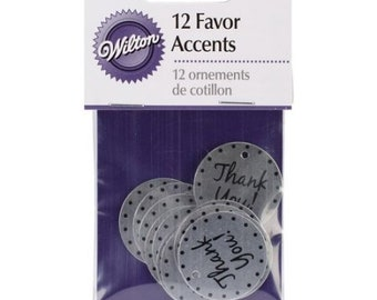 Wilton Thank You Favor Accents, Round Disc Stamped Thank You Tags
