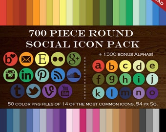 HUGE Social Media Icon Package - 700 Blog Button Icons - Transparent Round Network Buttons Including Instagram Icon, Twitter Icon and more!