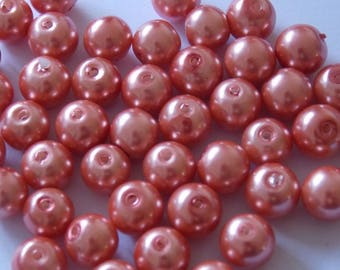Set of 30 round pearls orange 8mm