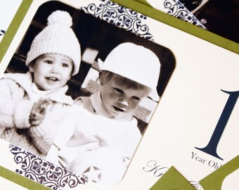 NEW 5 x 7 Personalized Photo Table Numbers by Age or Year - Frameable Size - Custom Colors Available