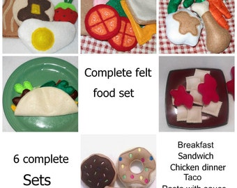 Felt play food - pretend food - play kitchen food - Complete Play felt food includes 6 complete sets of food #PF2505COMBO